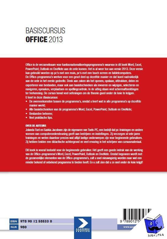 Jacobsen, Saskia, Toet, Jolanda - Basiscursus Office 2013