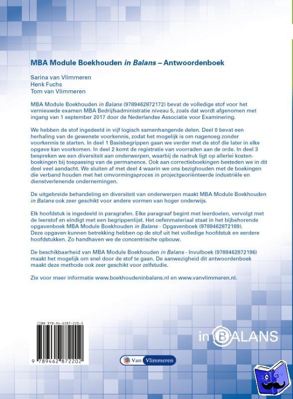 Fuchs, Henk, Vlimmeren, Sarina van, Vlimmeren, Tom van - MBA Module Boekhouden in Balans Antwoordenboek